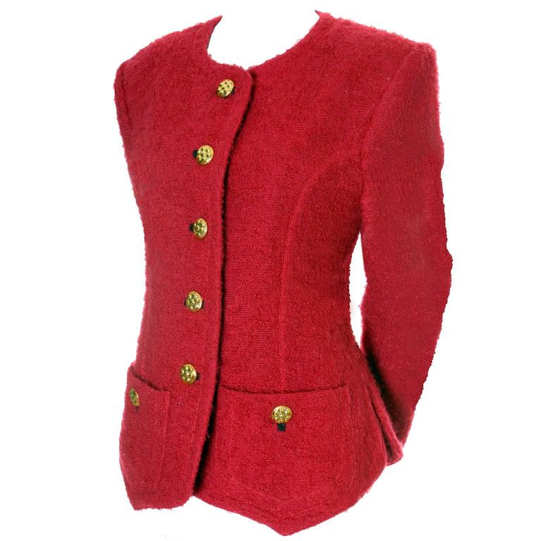 YSL Vintage Red Boucle Blazer Yves Saint Laurent Rive Gauche Paris Sz 42 Jacket