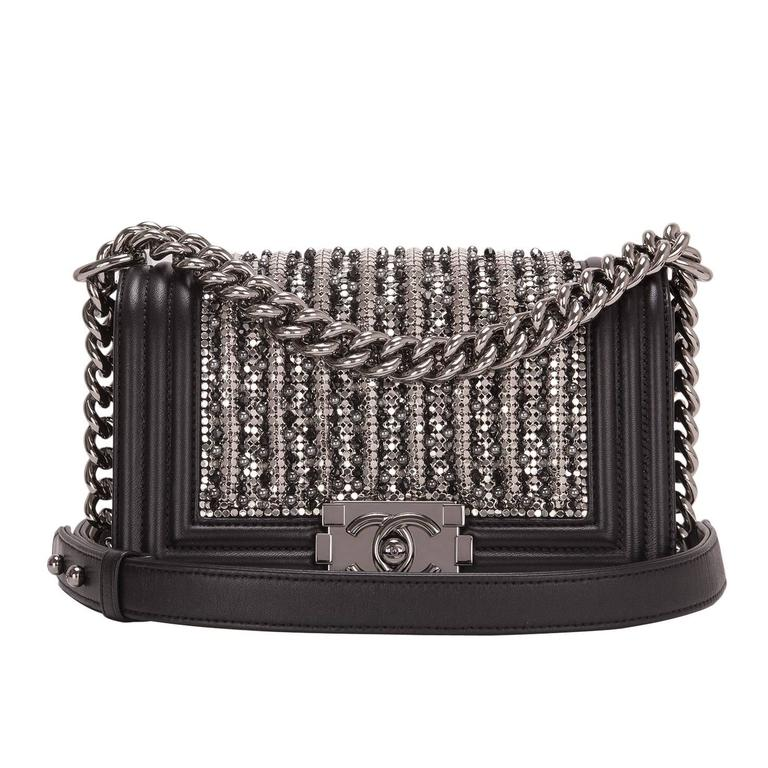 Chanel Black Lambskin Small Boy Flap Bag with Metallic Glass & Pearl Embroiderie For Sale