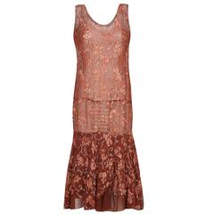 1920s Russet Floral Chiffon Flapper Dress