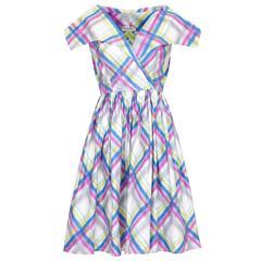 1950s Daniel Neals Plaid Print Cotton Dress