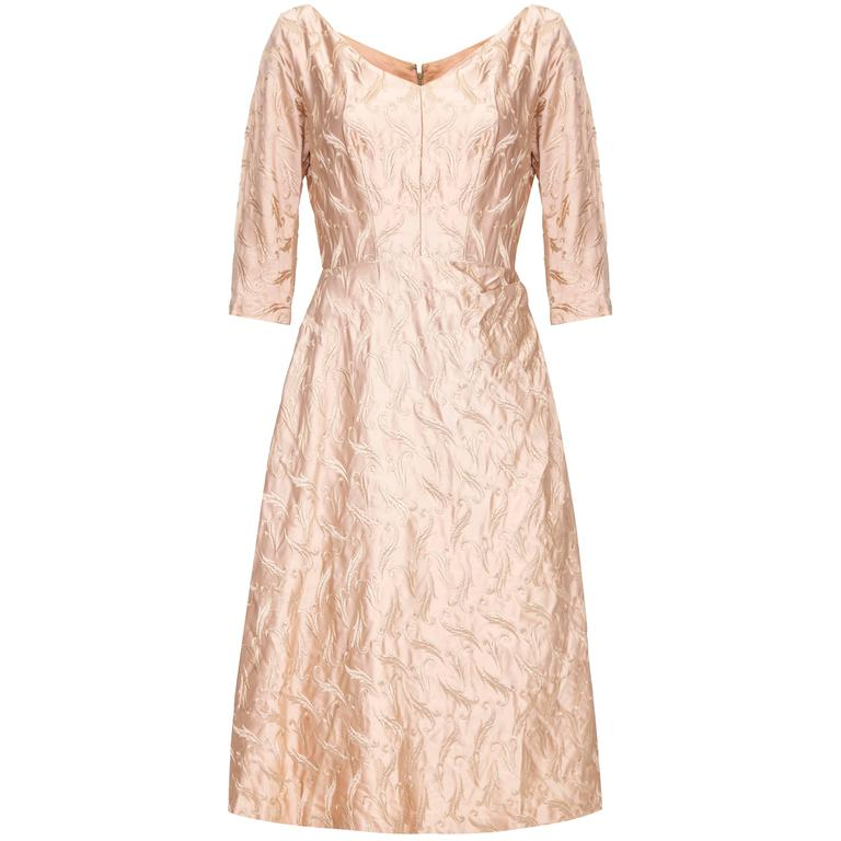 1950s Rose Gold Embroidered Silk Dress  For Sale