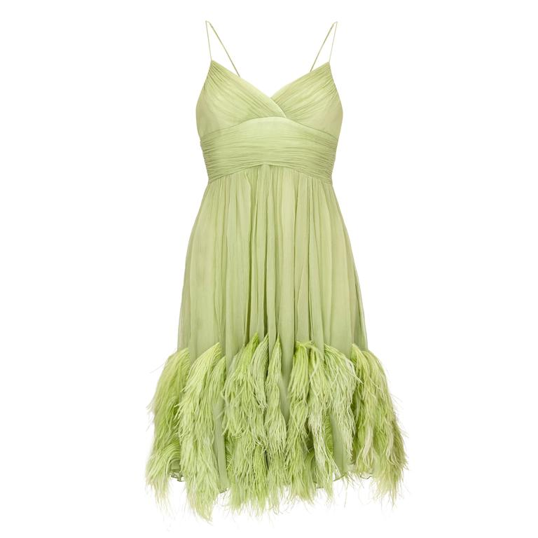 1960s Couture Green Chiffon Dress with Feather Trim  1