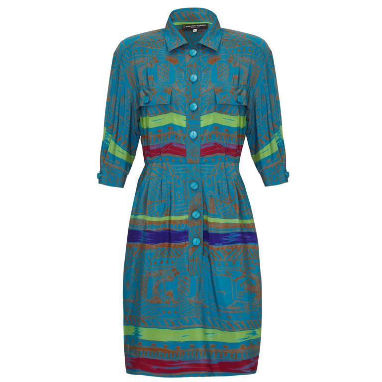 1980s Jean- Louis Scherrer Batik Print Silk Dress  1