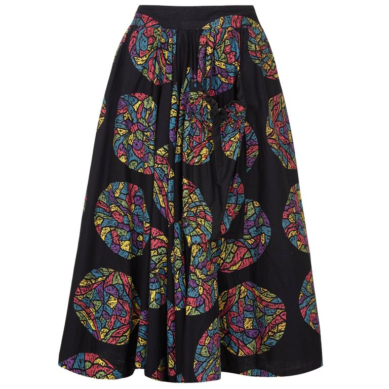 1950s Printed Cotton Mexican Skirt