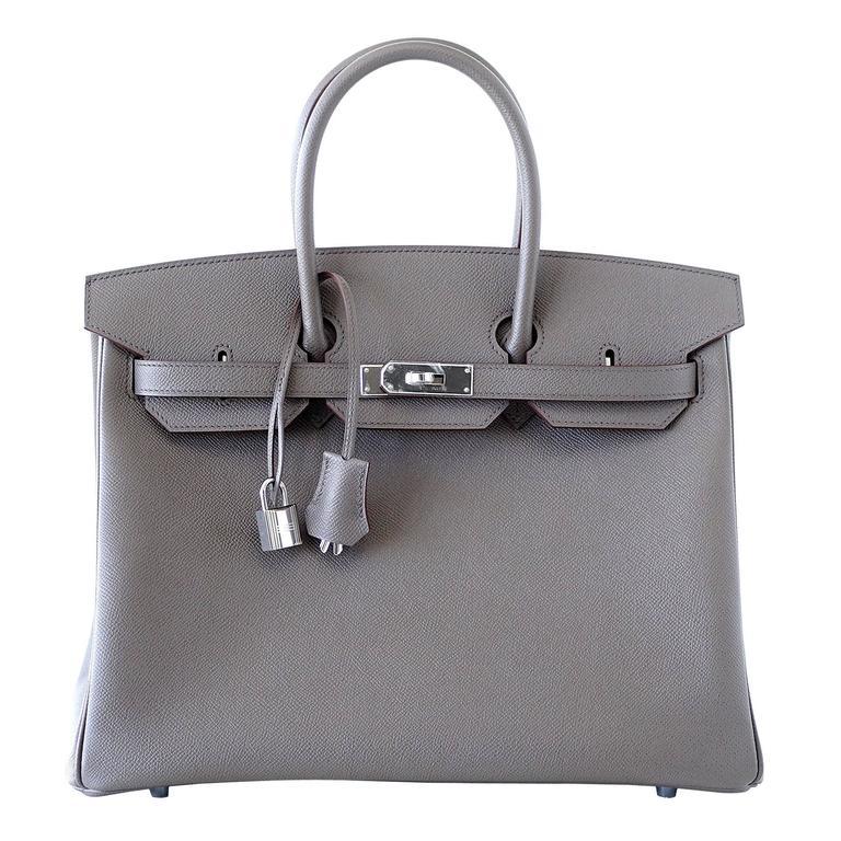 5d344dc2b3 HERMES BIRKIN 35 bag Horseshoe special order Etain palladium epsom For Sale