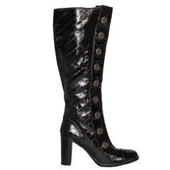 Dolce & Gabbana Black Eel Skin Boots