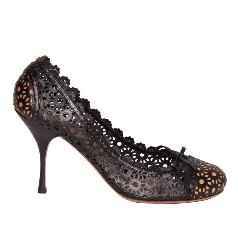 Alaia Black Perforated Leather Shoes