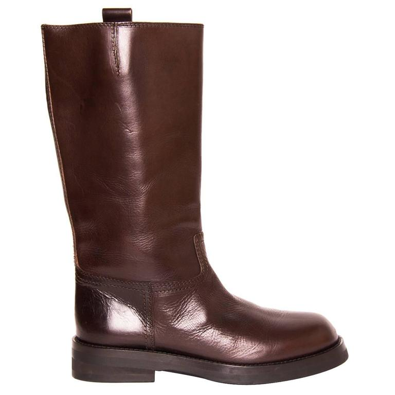 Ann Demeulemeester Chocolate Brown Leather Boots