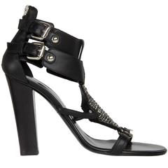 Balmain Black & Rhinestoned Sandals
