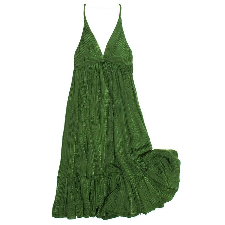 Balenciaga Green Silk Long Dress For Sale