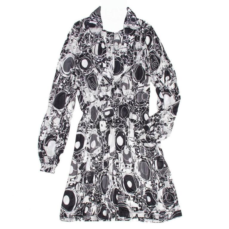 Chanel Black & White Jersey Printed Dress
