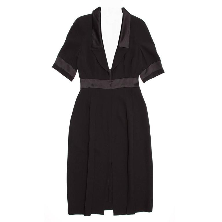 Chanel Black Silk Dress with Satin Trim For Sale