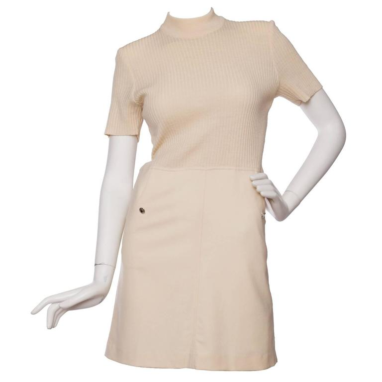 1960s Courrèges Off-White Knitted Wool Dress