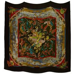 "Hermes Brown Cashmere/Silk Tropiques 55"" Square Scarf rt. $1.100"
