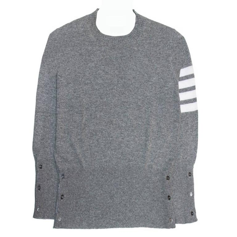 b2dffbf4d980 HomeFashionClothingSweaters. Thom Browne Grey Cashmere Crew Neck Pullover  For Sale