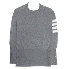 Thom Browne Grey Cashmere Crew Neck Pullover