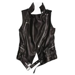 Balmain Black Leather Moto Style Vest