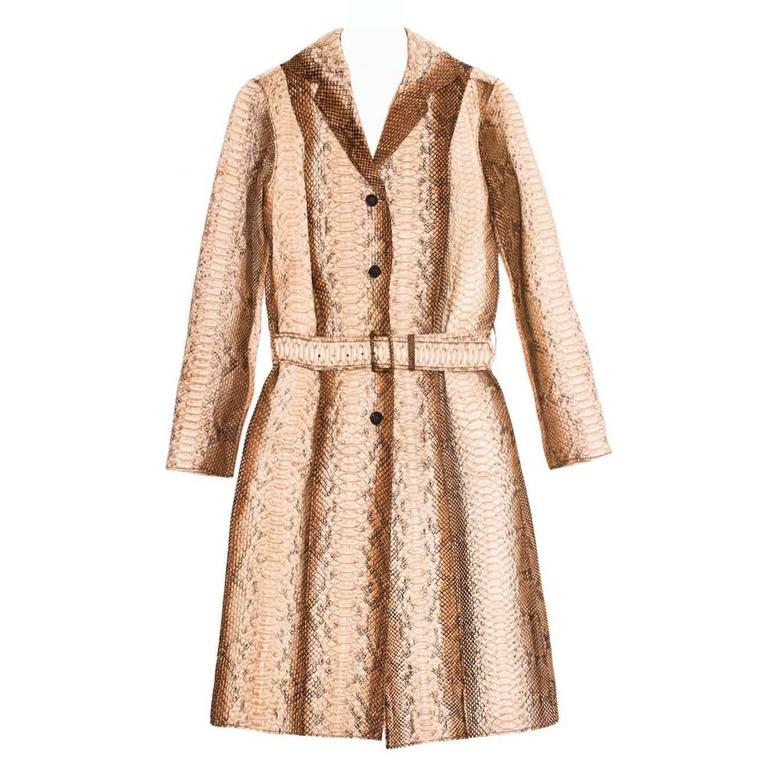 Prada Python Trench Style Coat For Sale
