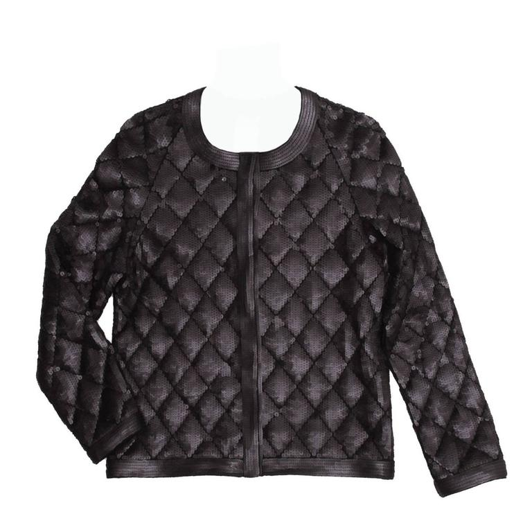 Chanel Black Matte Sequin Quilted Jacket