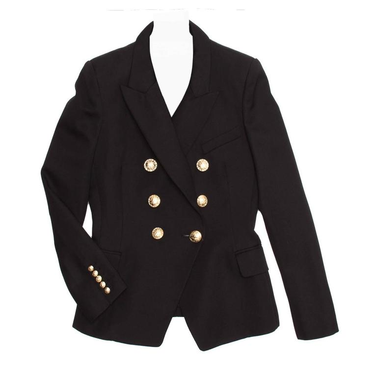 Balmain Black Wool Double Breasted Jacket