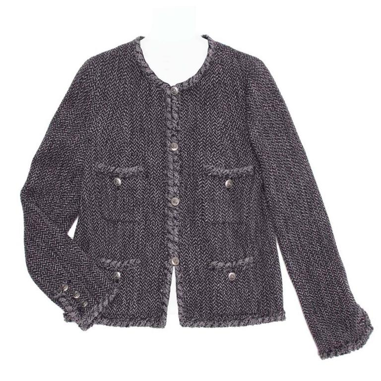 Chanel Navy & Grey Herringbone Jacket