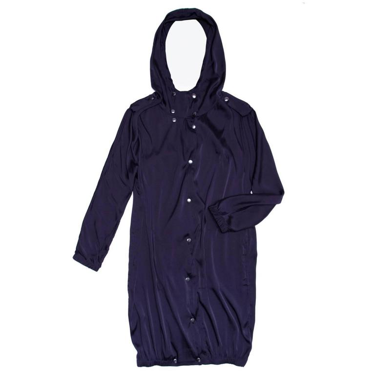 Lanvin Midnight Blue Silk hooded Parka