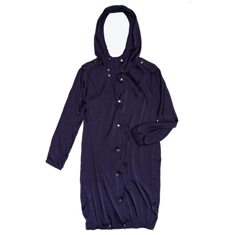 Lanvin Midnight Blue Silk hooded Parka