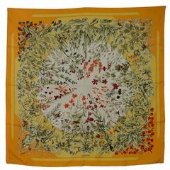 "Hermes Yellow ""La Prairie"" Floral Print Silk 36"" Square Scarf"