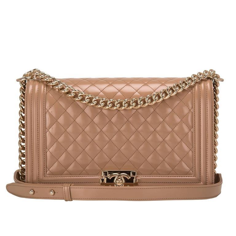 Chanel Dark Beige Iridescent Calfskin New Medium Boy Bag For Sale