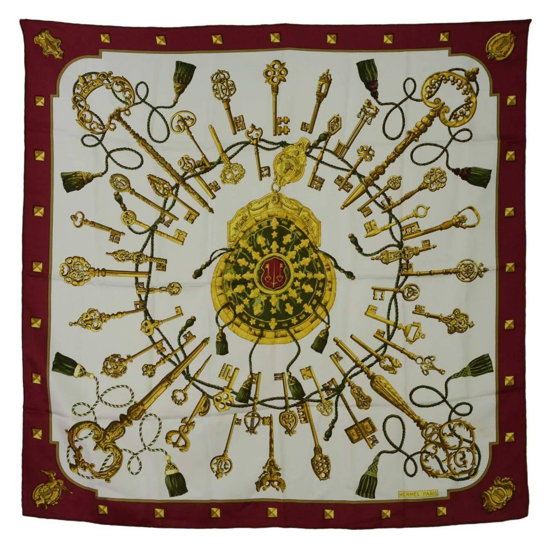 Hermes Burgundy And White Silk Key And Tassel Print 36