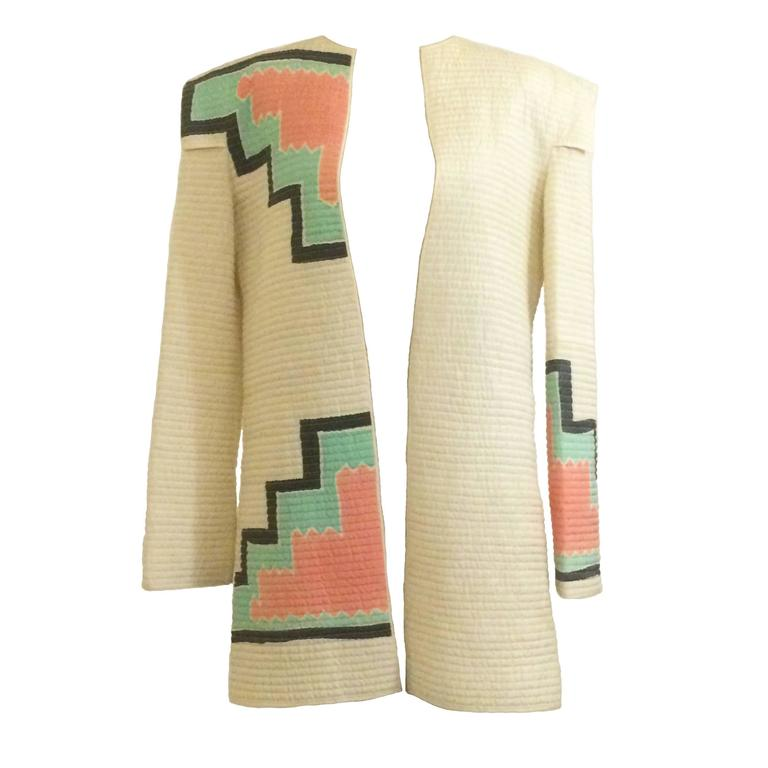 Mary McFadden 1980s Cream Quilted Pastel Print Jacket with Shoulder Detail