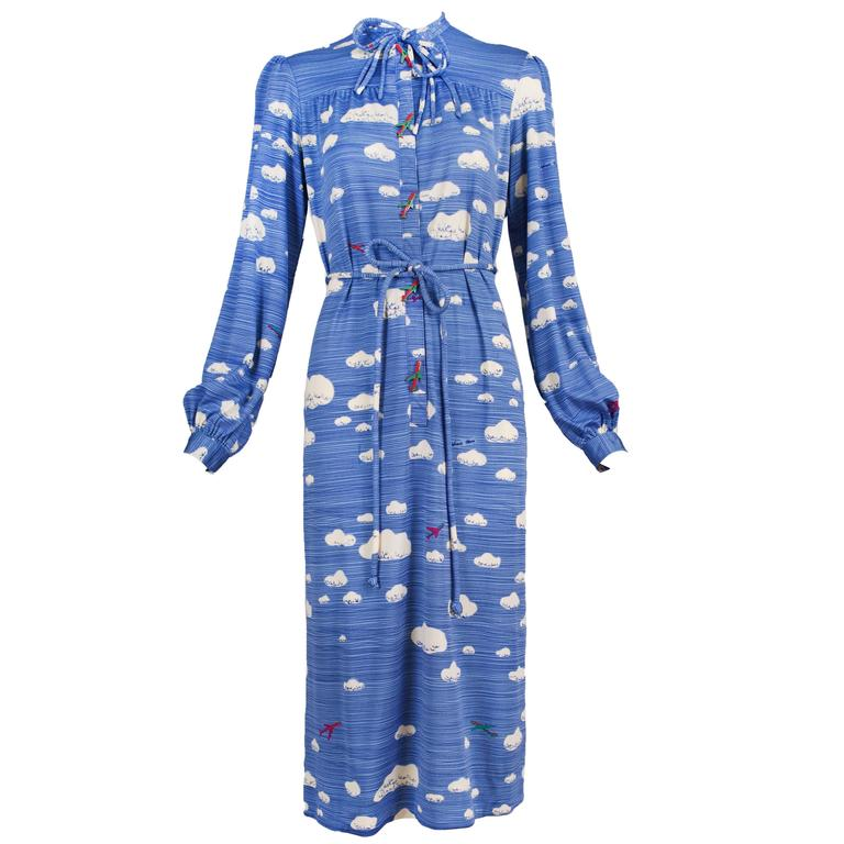 Hanae Mori Cloud & Airplane Novelty Print Day Dress w/Bakelite Airplane Buttons 1