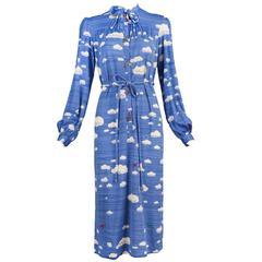Hanae Mori Cloud & Airplane Novelty Print Day Dress w/Bakelite Airplane Buttons