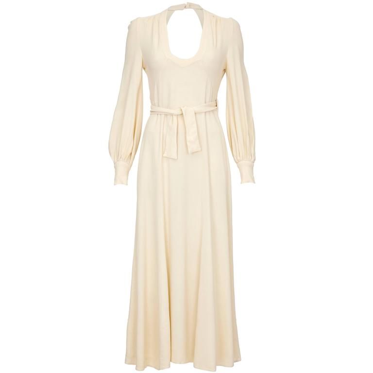 1970s Ossie Clark Buttermilk Moss Crepe Wrap Dress
