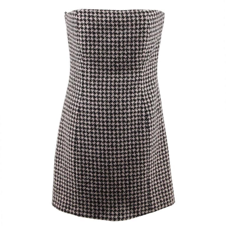 CHRISTIAN DIOR Black Pink HOUNDSTOOTH Wool Cashmere BUSTIER DRESS Size 44