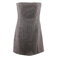 CHRISTIAN DIOR Black Pink HOUNDSTOOTH Wool Cashmere BUSTIER DRESS Size 44