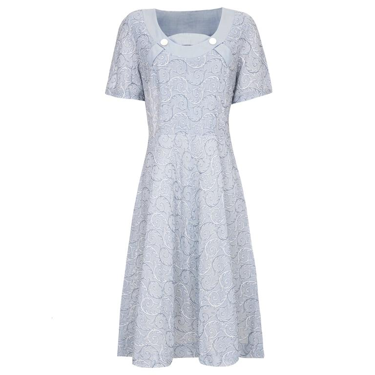 1950s Embroidered Pale Blue Cotton Dress  1