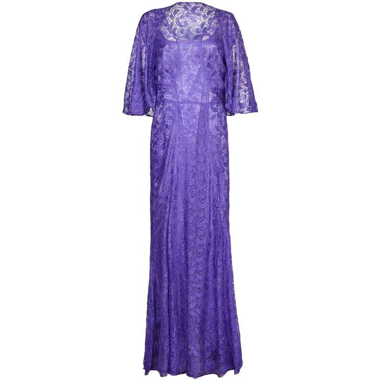 1930s Purple Lace Dress with Caplet  1