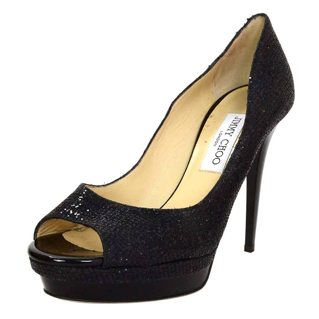 jimmy choo black glitter peep toe platform pumps sz 40 at