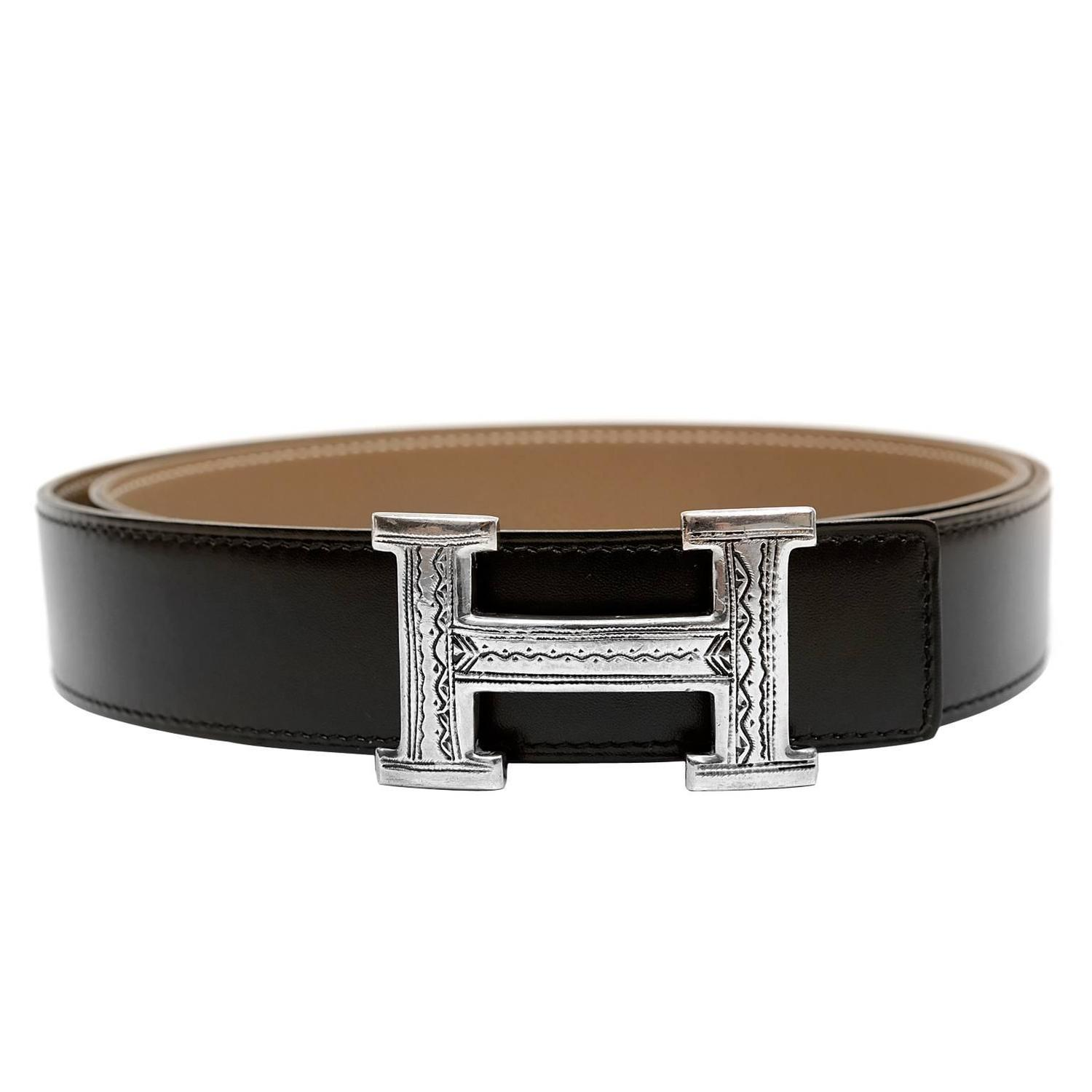 Herm 232 S Touareg H Buckle And Black Box Calf Reversible Belt