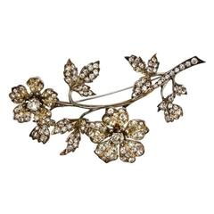 Antique Crystal Tremblant Flower Silver Brooch Pin