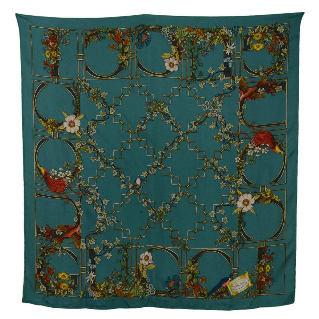 Black Flower 21st Century Op Art Set: Gucci Turquoise Ivy And Floral Print 90cm Silk Scarf At