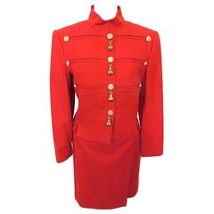 Louis Féraud Red Military Suit