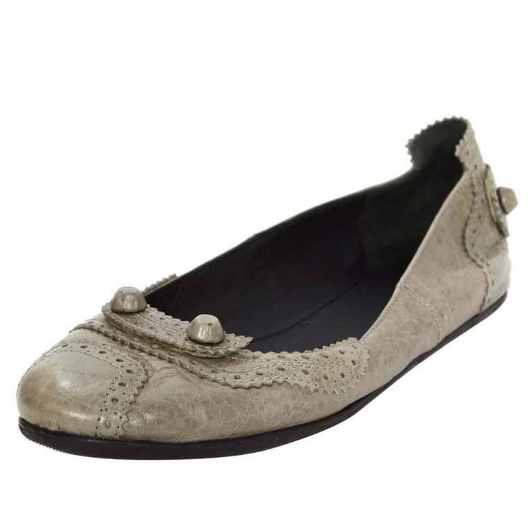 Balenciaga Grey Distressed Leather Flats sz IT37 1
