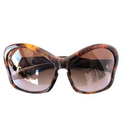 Prada Tortoiseshell Oversize Sunglasses with Case