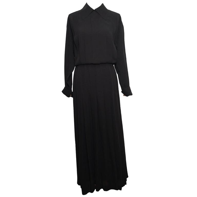 Chanel 1990's Black Sheer Silk Classic Career Dress 52 40 For Sale