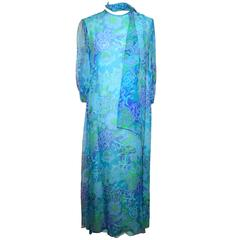 Doreen Lok 1960s Blue Silk Chiffon Paisley Print Dress