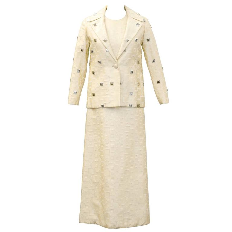 1960's Cream Dress and Jacket with Silver Pallettes  For Sale