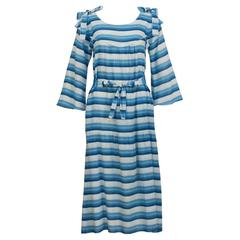 1970's Sonia Rykiel Blue Striped Peasant Dress
