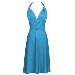 1980's Loris Azzaro Turquoise Halter Dress